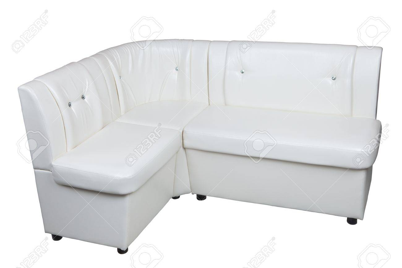 White Leatherette Corner Sofa With Storage Space Dining Room