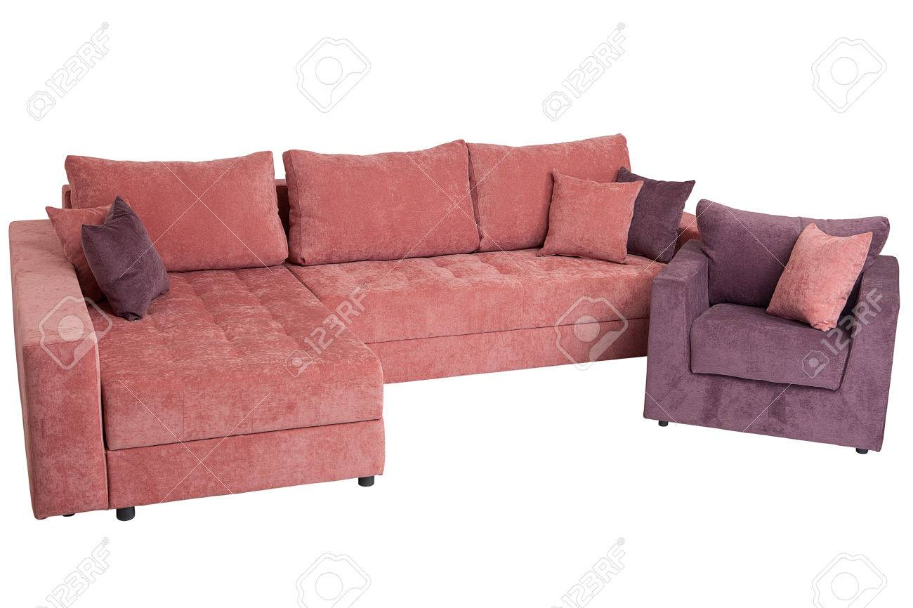 Corner sectional sofa-bed of pink, queen size, isolated on white..