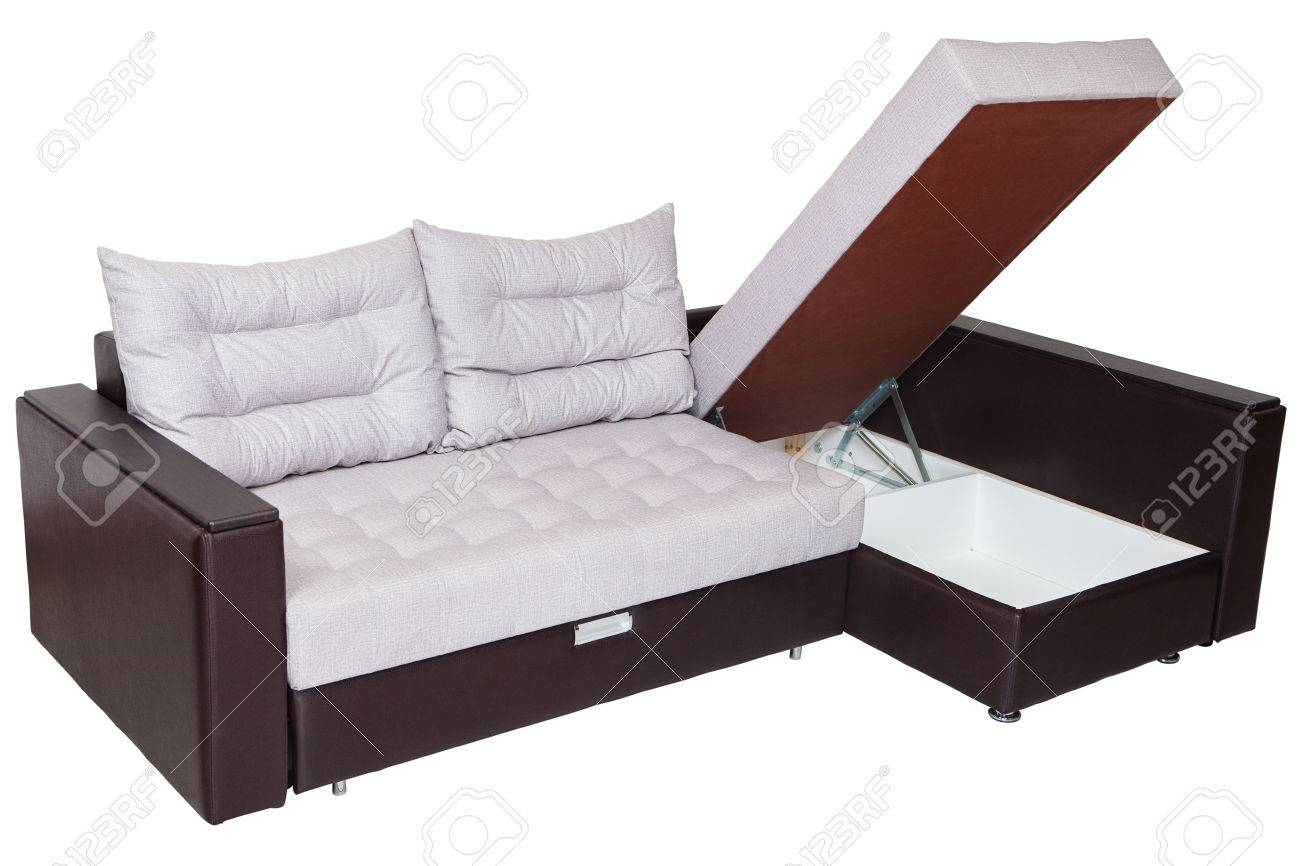 Corner convertible sofa-bed with storage space, upholstery soft..