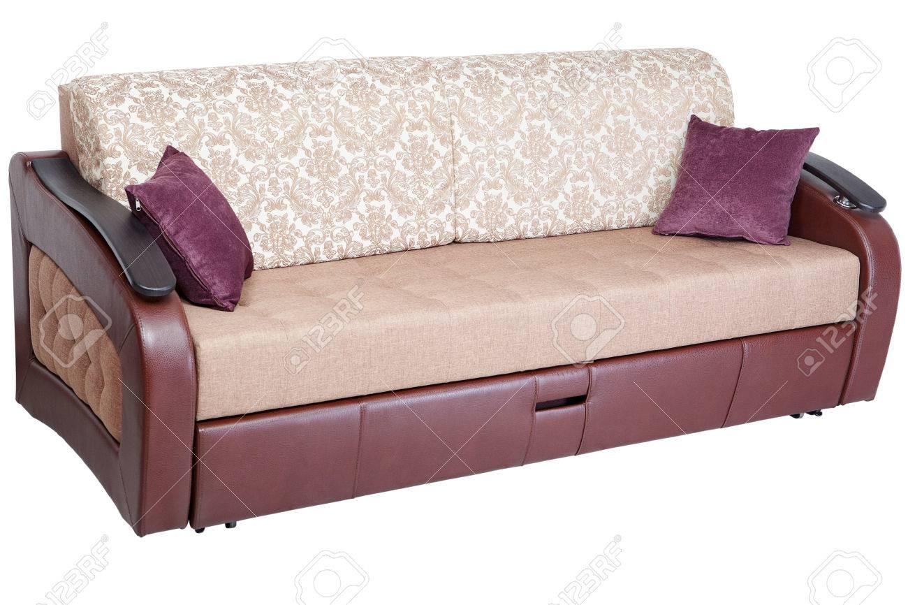 Schlafsofa Cabrio Sofa Sofa Mit Stauraum, Isoliert Auf Weißem Hintergrund,  Gespeichert Pfadauswahl.