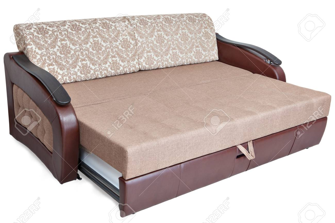 photo queen size pull out sofa bed light brown fabric and storage space isolated on white background saved