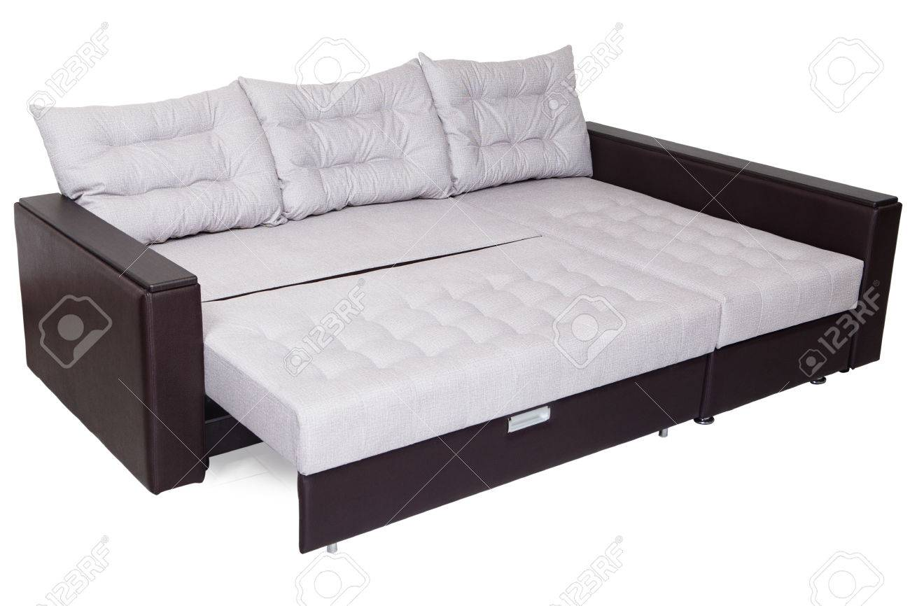 Corner Convertible Sofa Bed Of White Color Queen Size Armrests