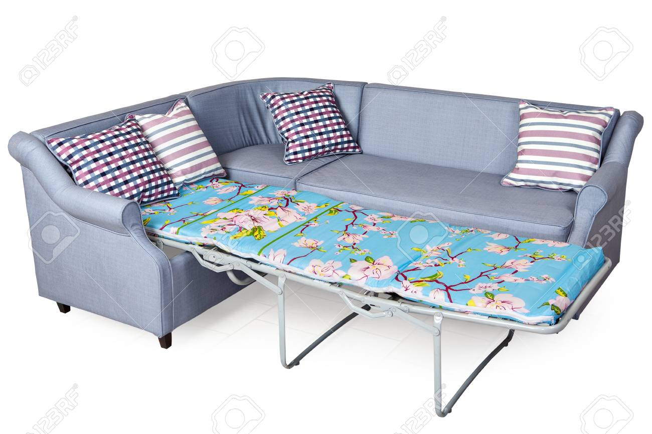 Picture of: Light Gray Corner Fold Out Upholstered In Fabric Sofa Bed Isolated Stock Photo Picture And Royalty Free Image Image 71328038