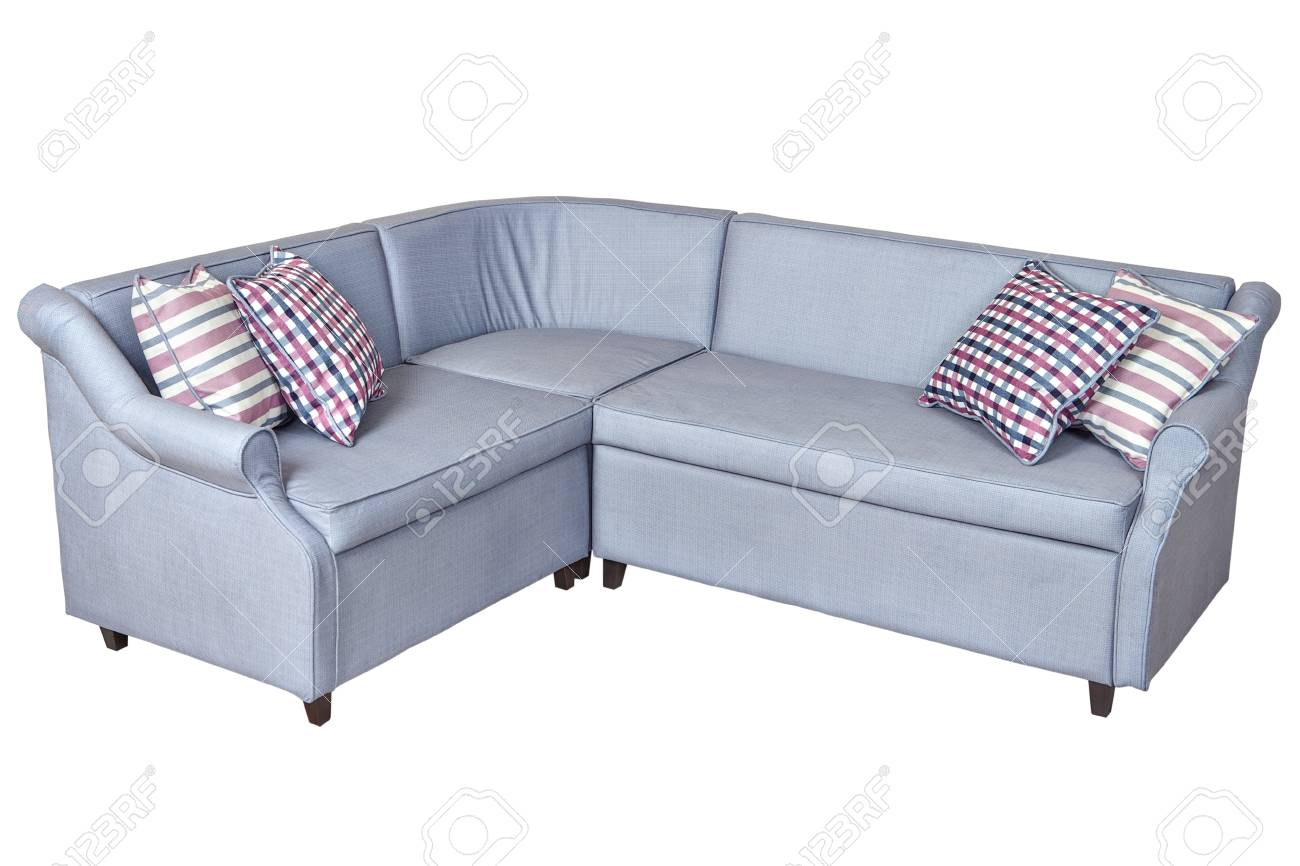 ordinary Corner Sleeper Sofa Part - 8: Corner sleeper sofa folding bed, upholstered in fabric light gray color,  isolated on white