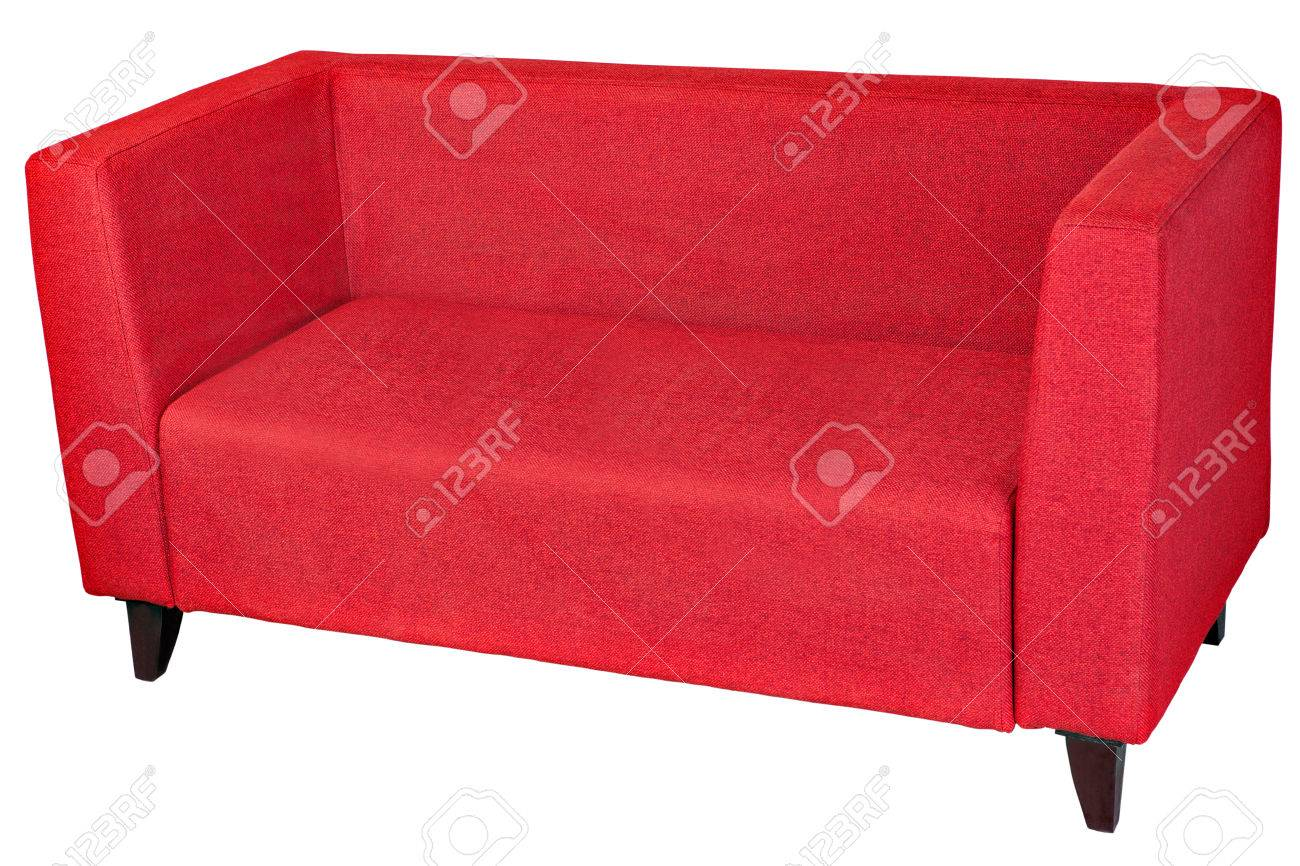 Red fabric 2 seater sofa, isolated on white, clipping path saved.