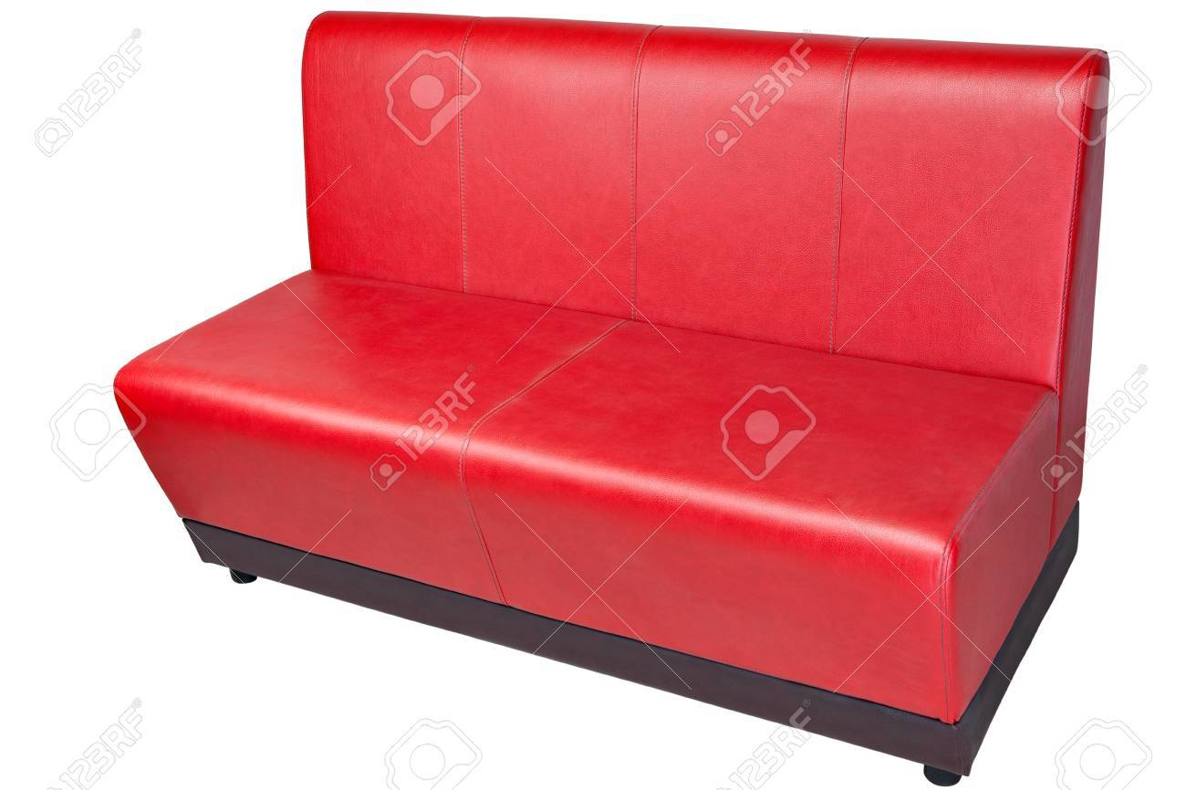 Outstanding Red Color Imitation Leather Office Couch Isolated On White Ibusinesslaw Wood Chair Design Ideas Ibusinesslaworg