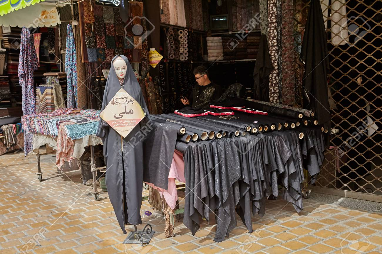 Isfahan, Iran - April 24, 2017: an Iranian trader sits in a tent