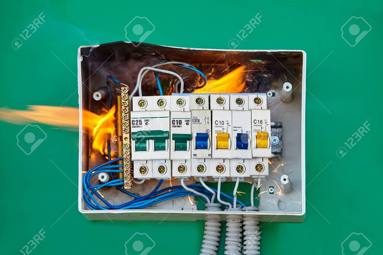 electrical problems, improper electric wiring present a fire.. stock photo,  picture and royalty free image. image 128259870.  123rf.com