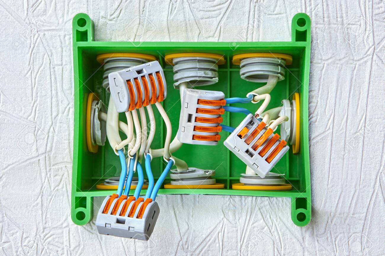 Installation Of A Plastic Junction Box For Home Wiring Electrical Stock Photo Picture And Royalty Free Image Image 131449133