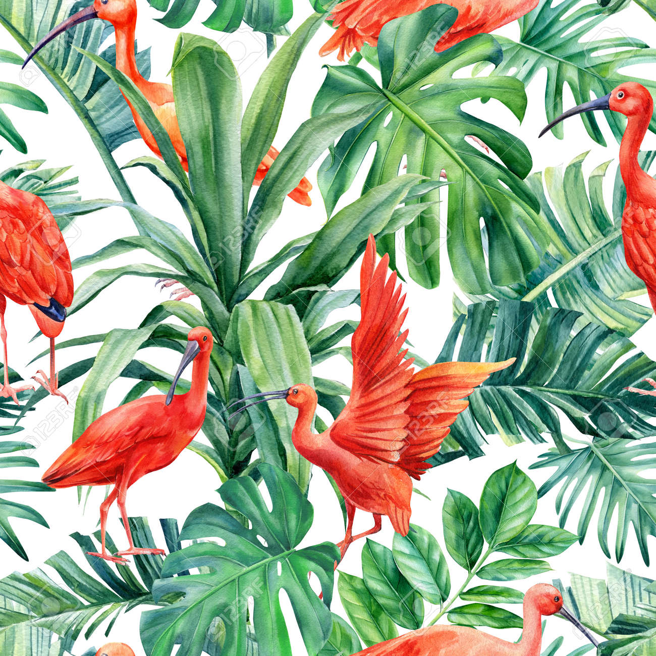 Tropical palm leaves and ibis birds on an isolated background. Watercolor illustration, seamless pattern - 168095404