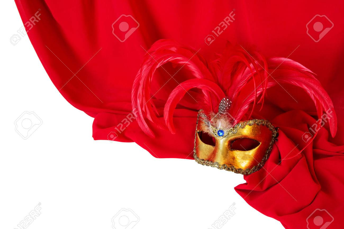 Venetian mask with red feathers on red fabric Stock Photo - 26980070
