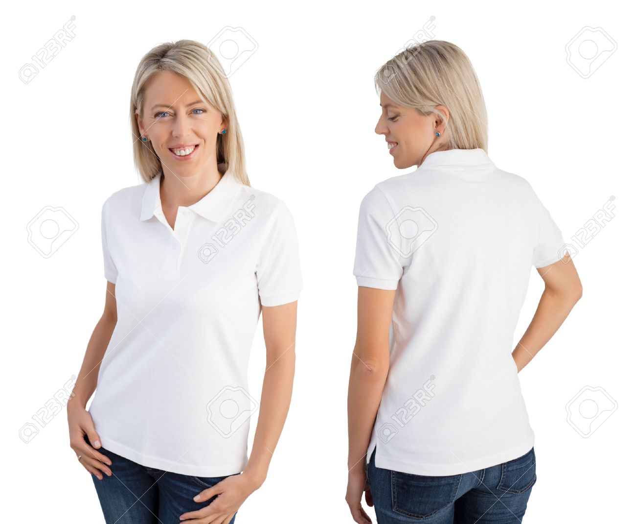 Woman Wearing White Polo Shirt Front And Back Views Stock Photo