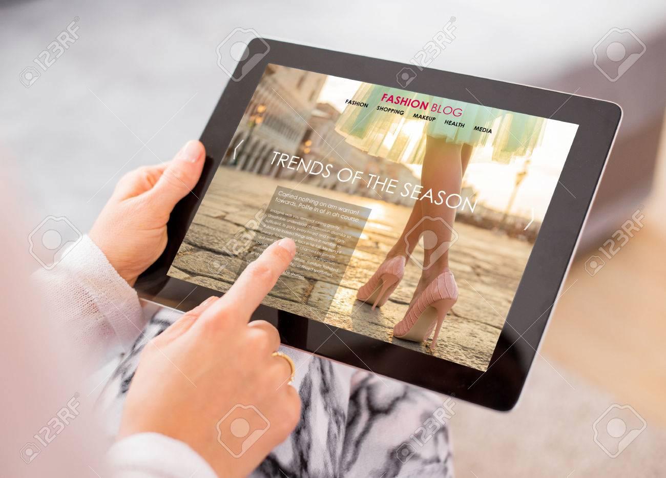 Fashion blog / website on digital tablet - 54247534