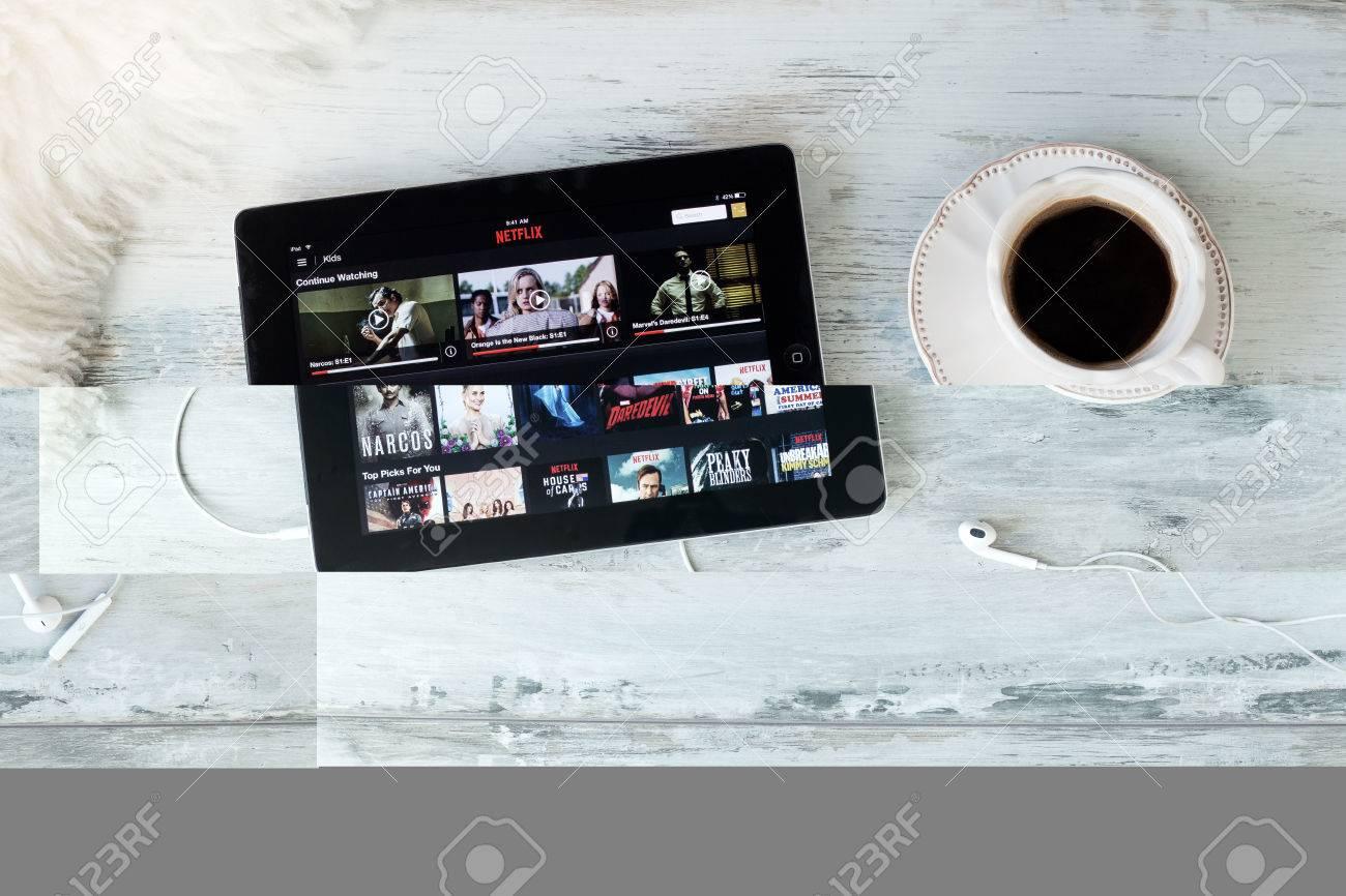 RIGA, LATVIA - FEBRUARY 17, 2016: Netflix on the App Store  Netflix