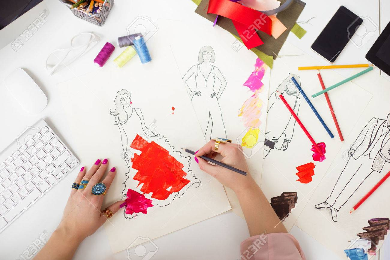 Fashion Designer Drawing Stock Photo Picture And Royalty Free Image