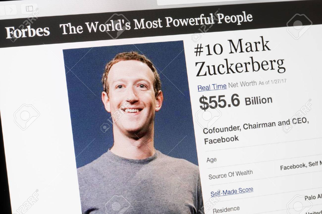 RIGA, LATVIA - February 24, 2017: Forbes Magazine list of The Worlds Most Powerful People.Number 10 the cofounder and CEO of Facebook Mark Zukenberg. - 75365739