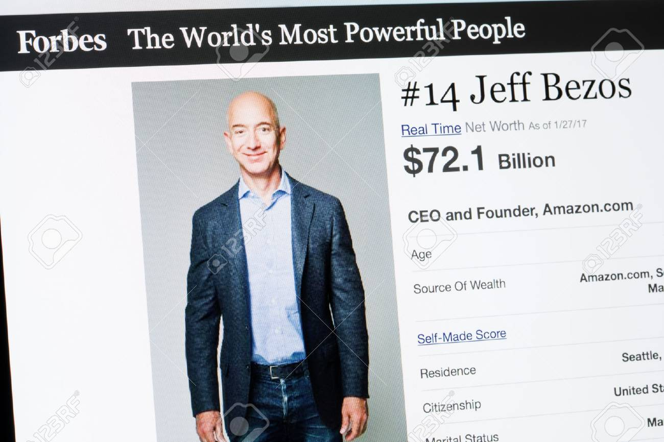 RIGA, LATVIA - February 24, 2017: Forbes Magazine list of The Worlds Most Powerful People.Number 14 CEO and founder of Amazon.com Jeff Beezos. - 75365740