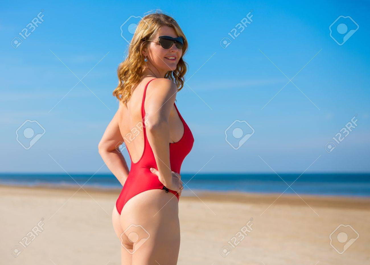 Socorrista En De Rojo Mujer Traje Baño N0Om8wyvnP
