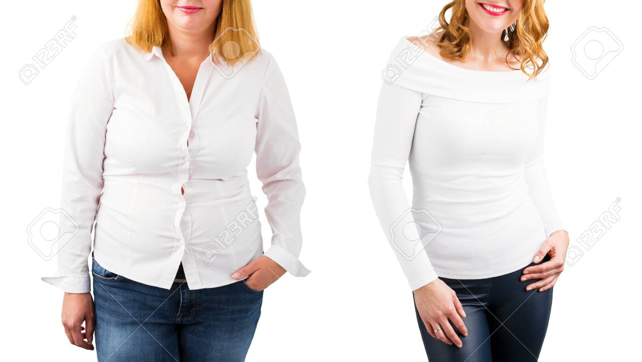 Casual woman before and after weight loss, isolated on white - 97422325