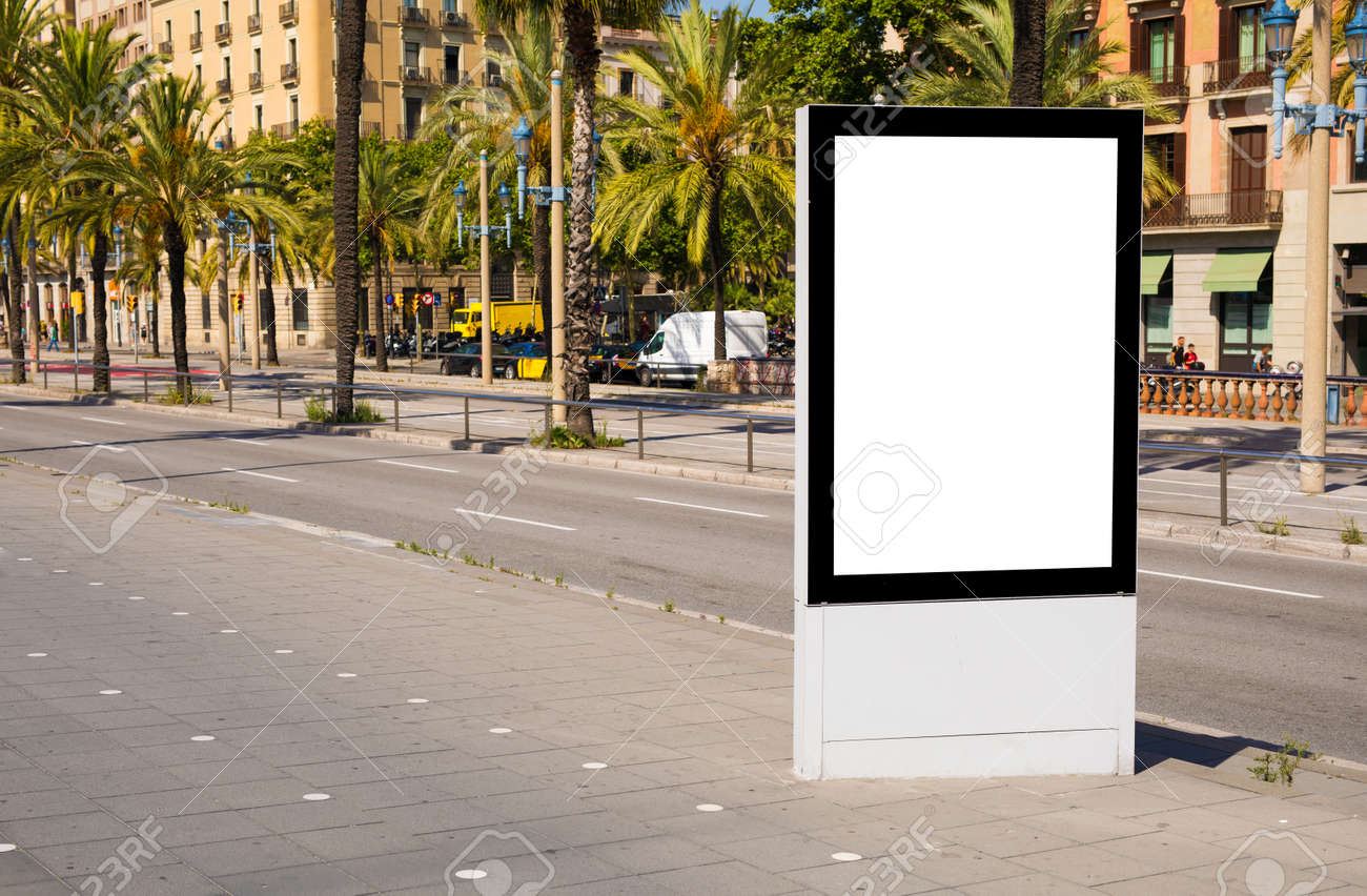 Empty advertising stand mockup on street - 155004508