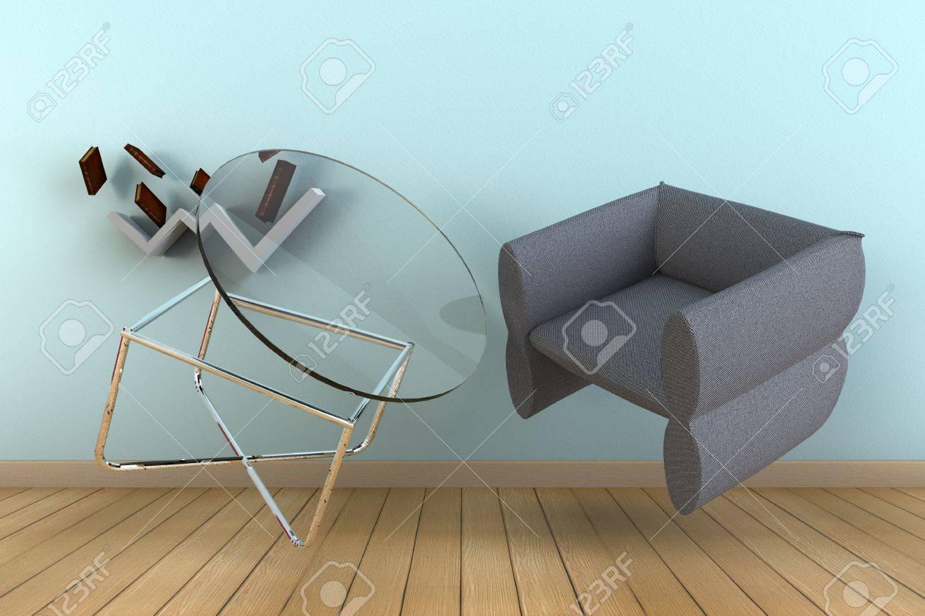 Sedie Per Tavolo Di Vetro.Zero Gravita Galleggiante Scaffale Tavolo Di Vetro Rotondo Moderno E Una Sedia A Muro Azzurro E Pavimento In Legno 3d Interni