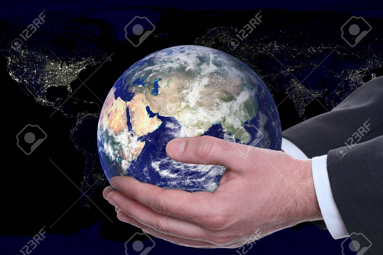 earth in a hands on background night city Stock Photo - 2927363