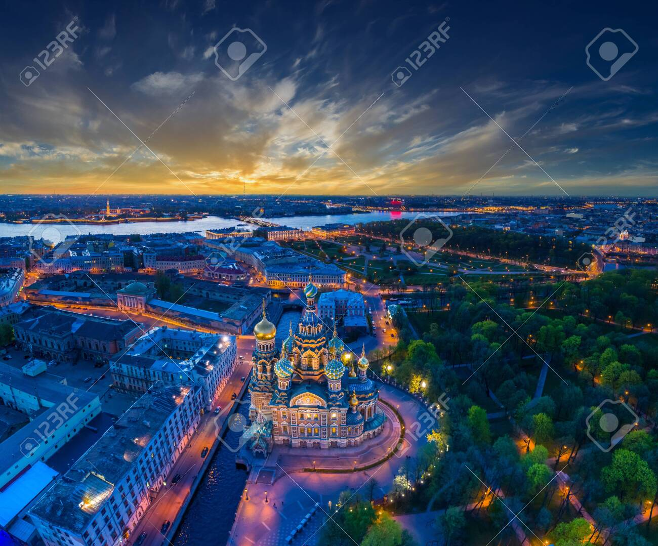 Panorama of Saint-Petersburg. Architecture of Petersburg. View of the Field of Mars and the Church of the Savior on Blood. Panorama of the city of Russia. Summer evening in St. Petersburg. - 152000726