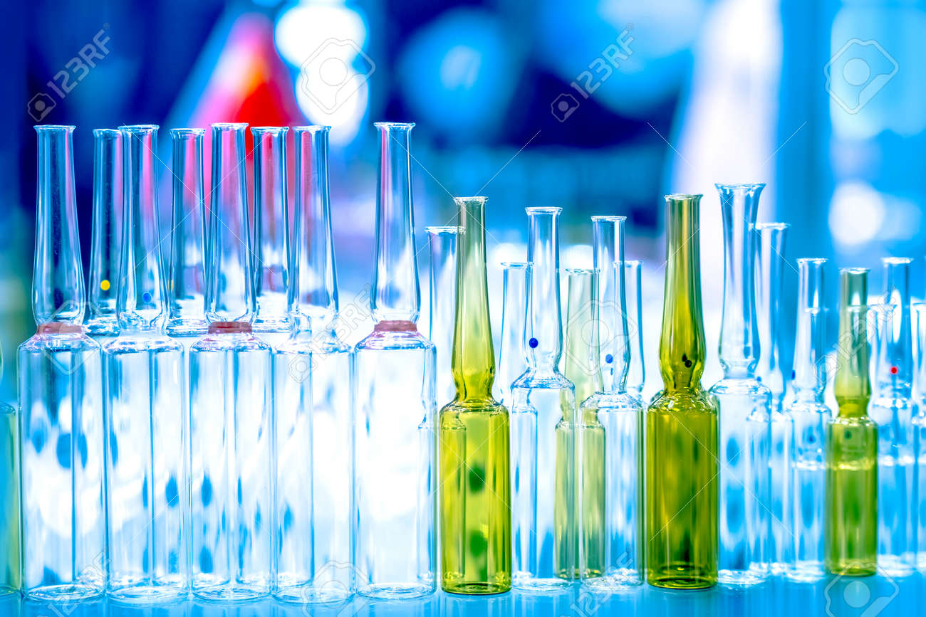 Laboratory glassware. Chemical test tubes. Medical glass flasks. Analysis of the composition of substances. Laboratory research. Chemical industry. Medicines. Pharmacology. - 152343281