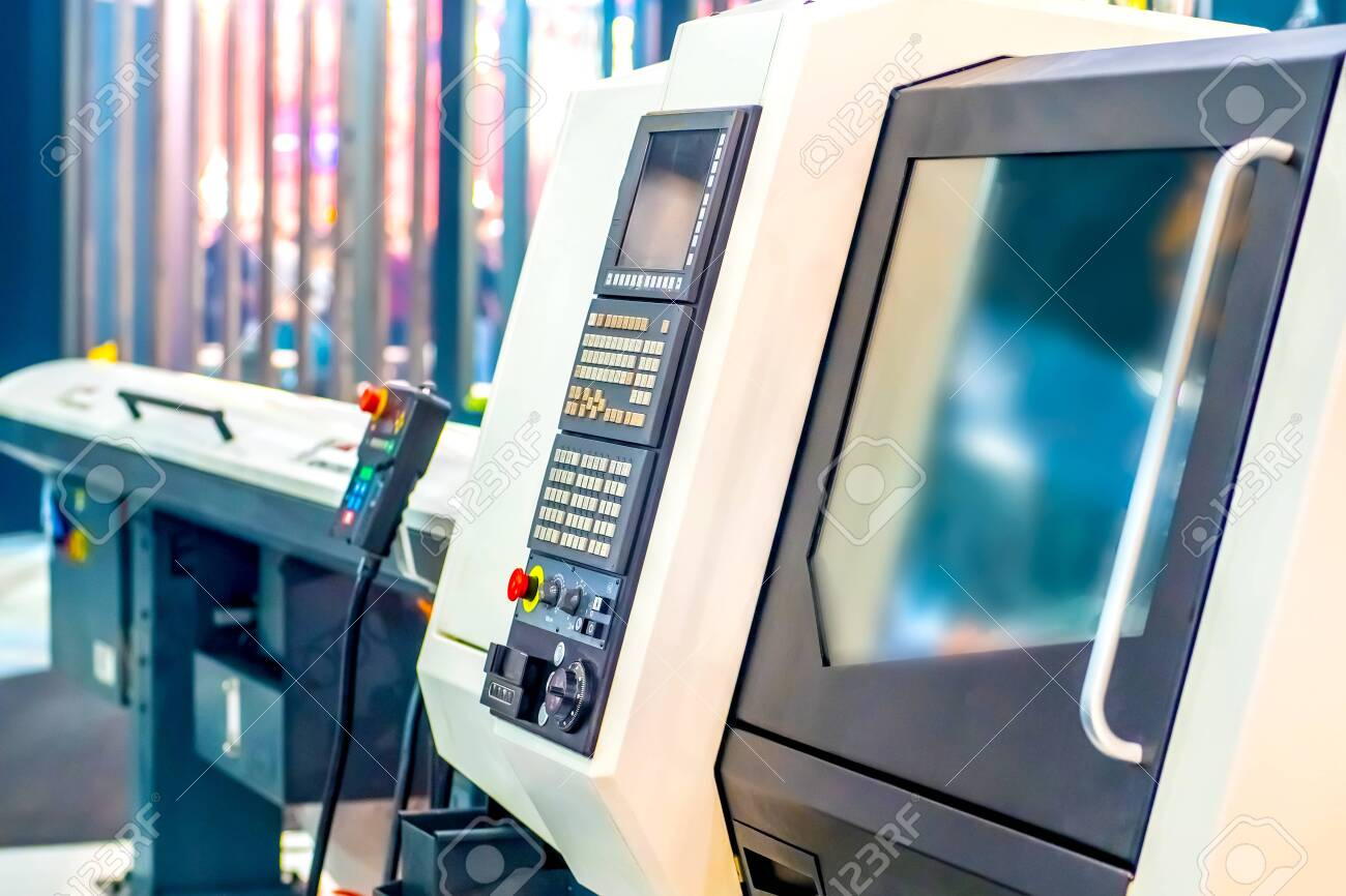 Programmable milling machine. Programmable machine with numerical control. Milling industry. CNC technology. Industrial equipment. - 152612610