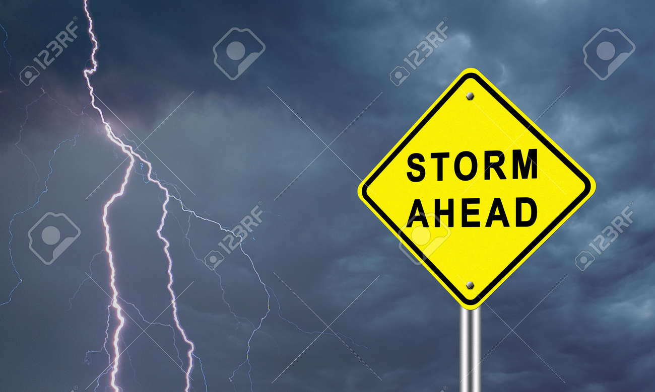 Warning road sign on a lightning background. A sign that says storm Ahead. Concept of the onset of problems. A call to prepare for difficult times. - 154882605