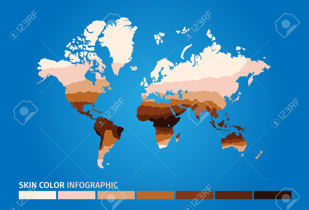 Skin World Map Color Infographic Skin Vector Graphic Royalty Free