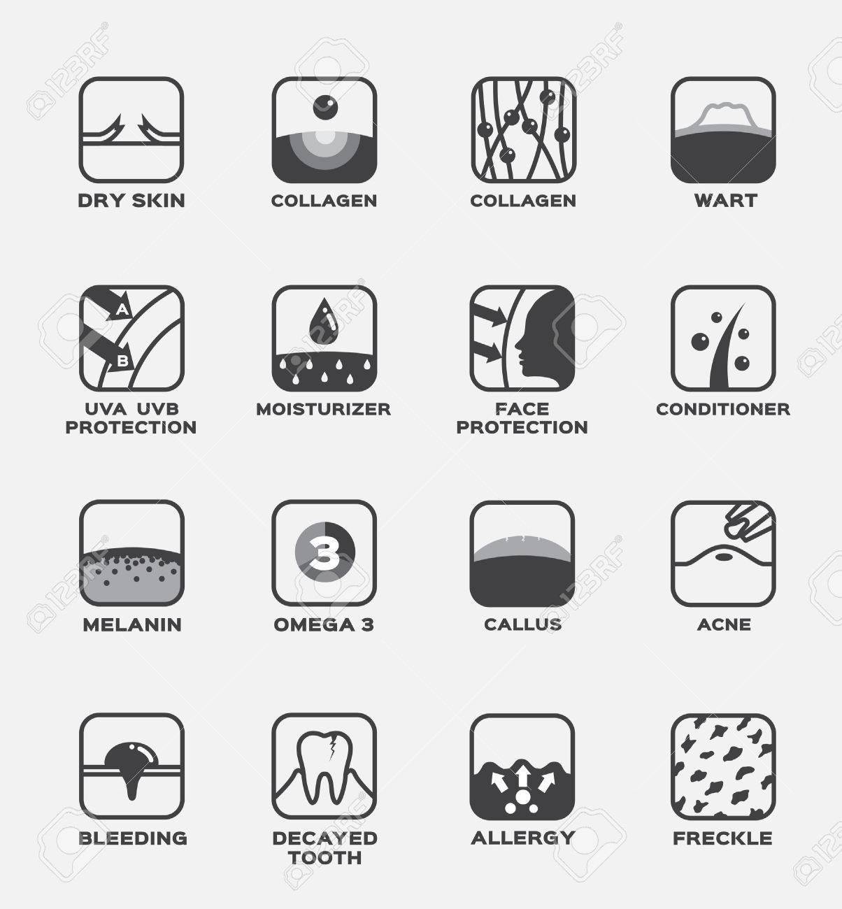 all skin icon vector . collagen , uv ,hair conditioner , moisturizer , wart , omega 3 , melanin , omega 3 , callus , acne , freckle , allergy , decayed tooth , bleeding , face protection , dry skin - 67561072