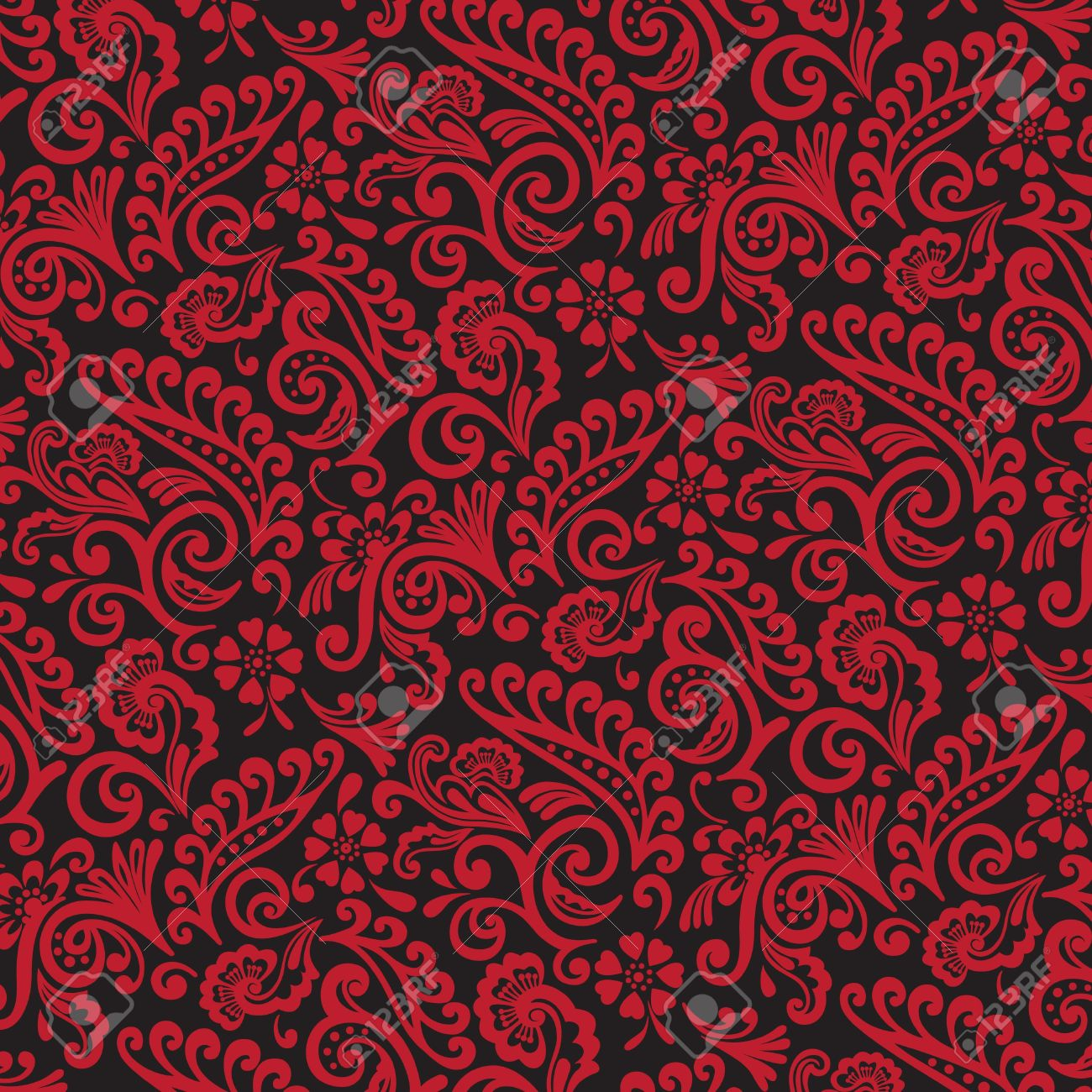 Red And Black Victorian Floral Wallpaper