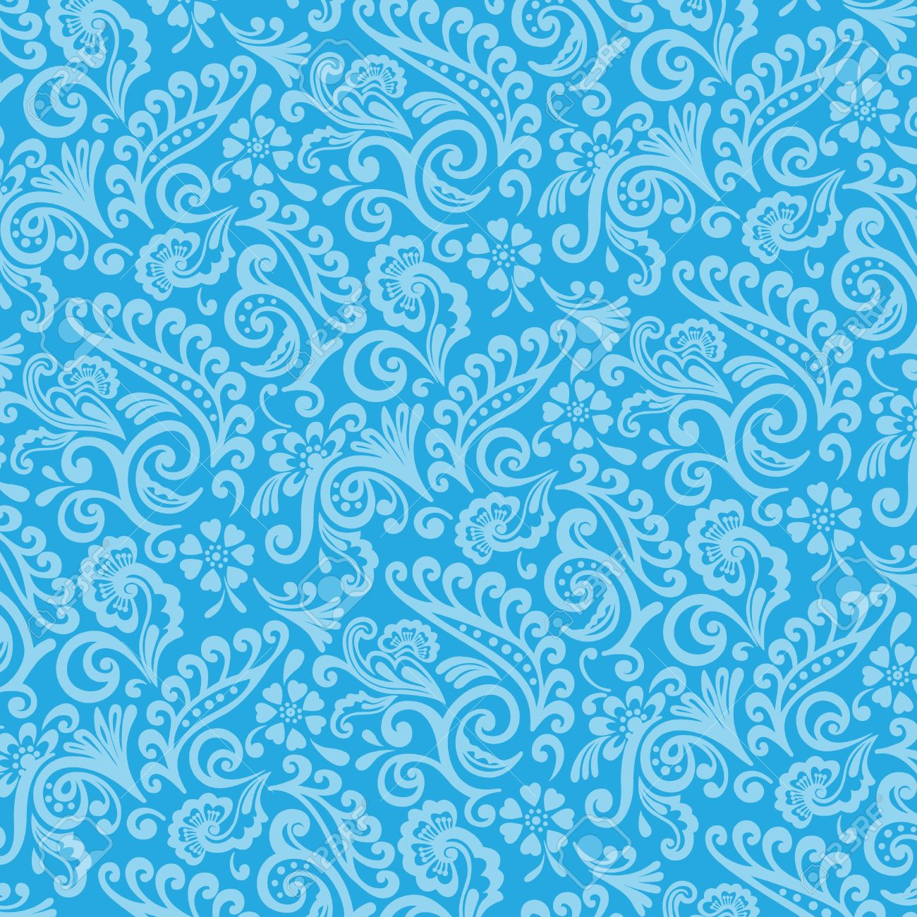 Blue And Cyan Victorian Floral Wallpaper Stock Photo Picture And
