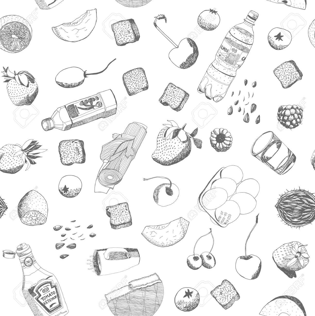 Hand Drawn Vector Food And Kitchen Stuff Seamless Pattern, Outlined ...