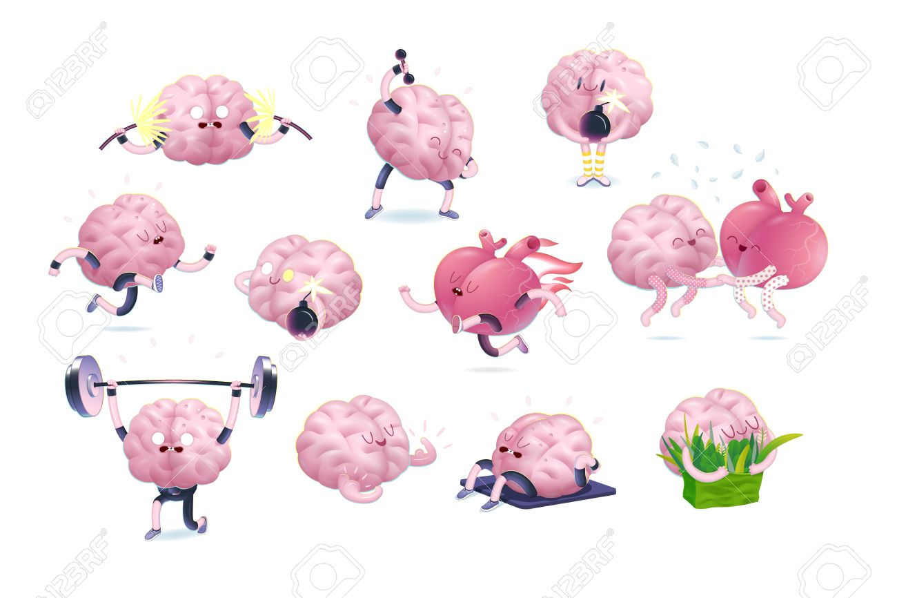Brain and heart fitness set, cartoon isolated images, a part of Brain collection - 58198714