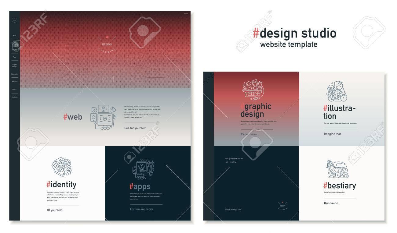 Design Studio Website Flat Contemporary Template Website Layout - Web development company templates