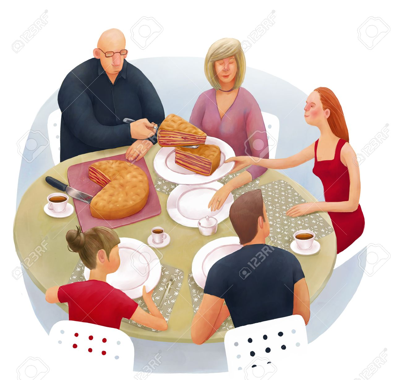 The illustration of division of inheritance metaphor. Family is sitting at the round dinner table and dividing the cake. - 61752354