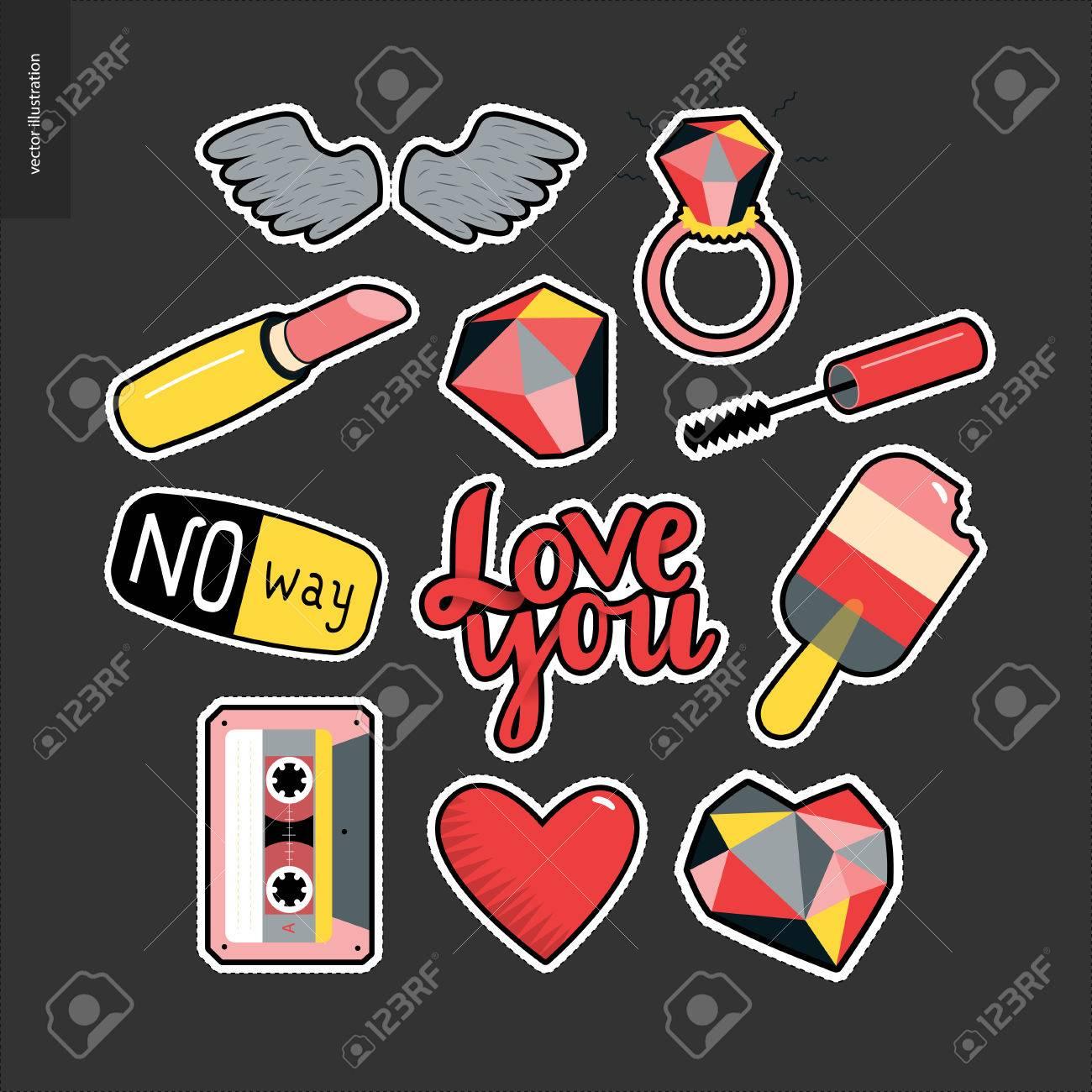 Conjunto De Elementos De Parches De Niña Contemporáneos Un Conjunto De Vector Las Niñas Cosas Como Maquillaje Corazones Frases Que Amor El Odio