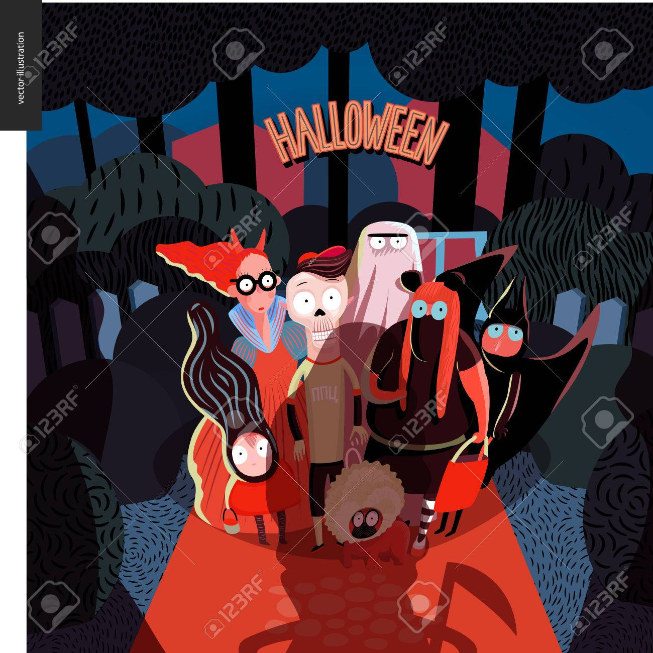 Halloween greeting card with lettering vector cartoon illustrated halloween greeting card with lettering vector cartoon illustrated group of kids wearing halloween costumes and a dog standing in the court in front of m4hsunfo