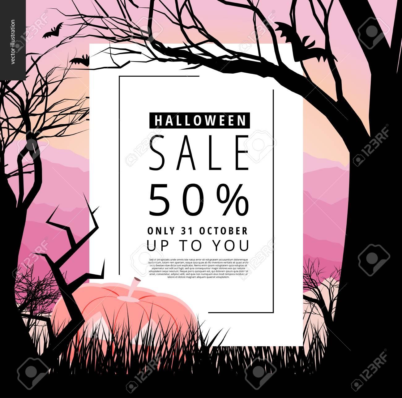 Halloween Sale Ankündigung Illustriert Plakat. Vector Cartoon ...