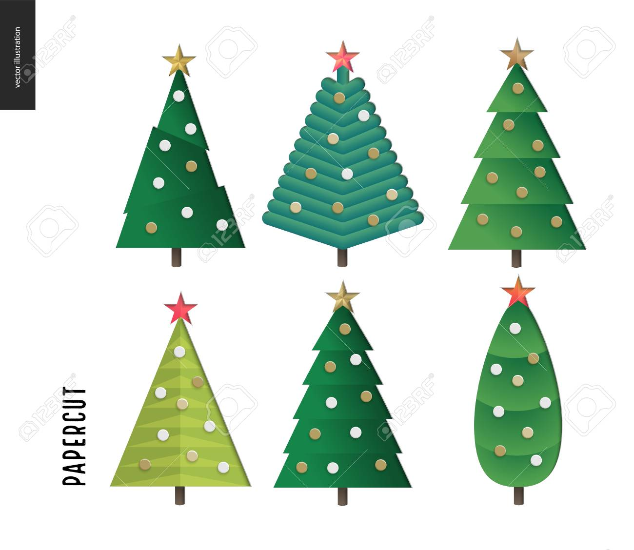 Papercut - Decorated Christmas Trees Set. 3D Cut Out Vector ...