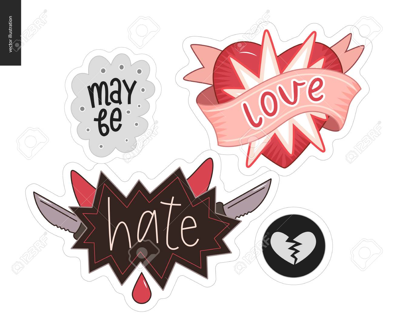 set of contemporary girlie love letter a set of vector patches