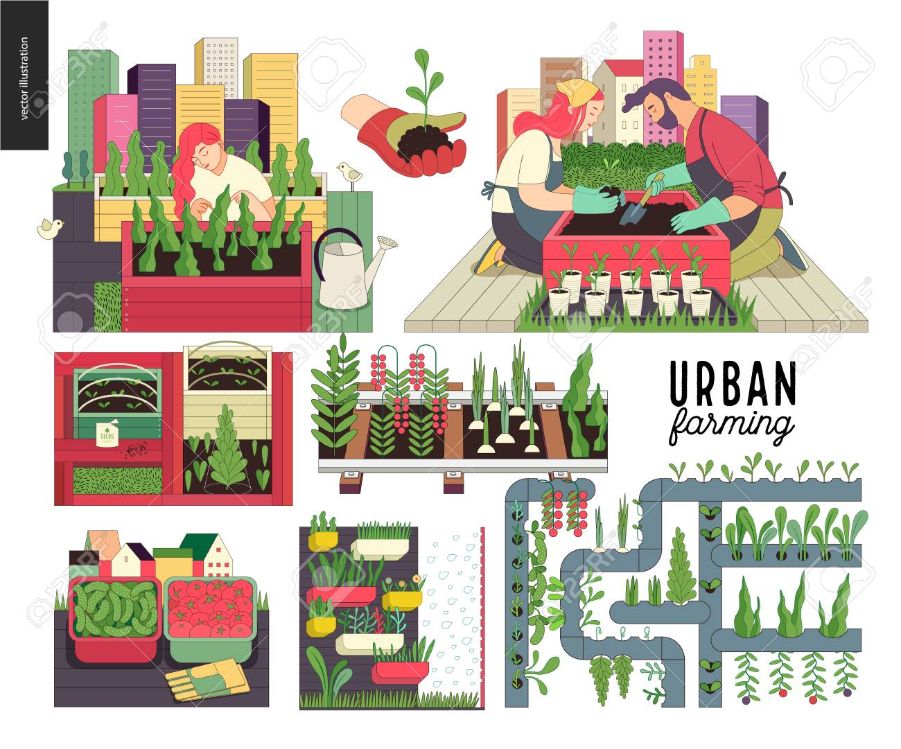 Urban farming, gardening or agriculture set. Planting, harvest, wooden seedbeds, planting on rails, vertical farming and hydroponics. - 94100243