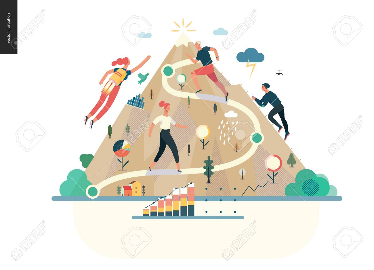 Business series, color 1- career -modern flat vector illustration concept of career - people climbing the mountain. Climbing up the career ladder process metaphor Creative landing page design template - 110269926