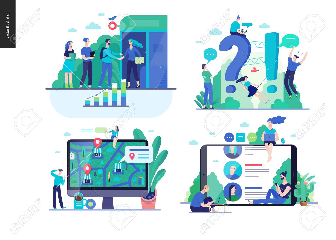Business series set, color 2-modern flat vector concept illustrated topics -b2b partnership, questions and answers faq, where to buy -location, forum reviews. Creative landing web page design template - 126201190