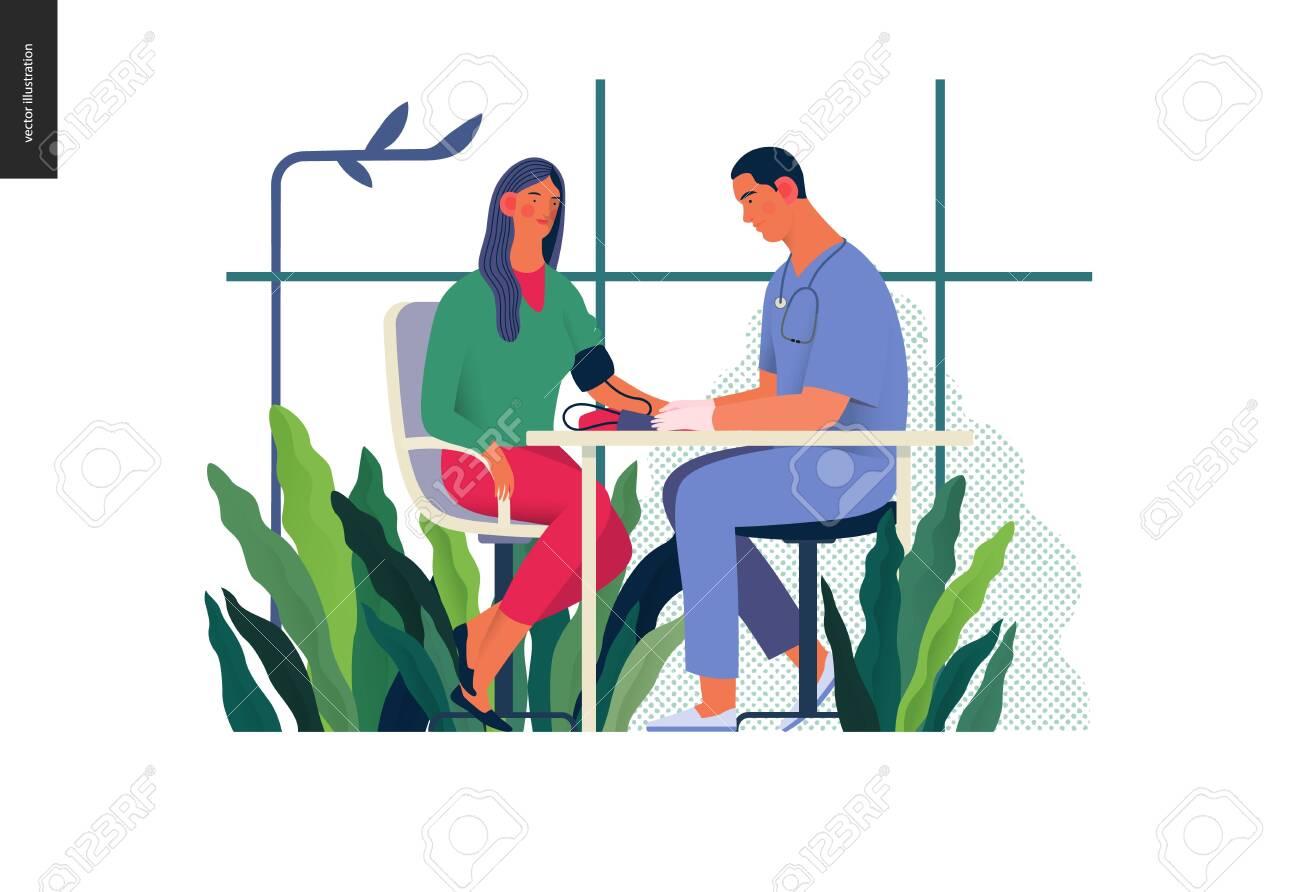 Medical tests illustration - blood pressure test - modern flat vector concept digital illustration of blood pressure measurement procedure - a patient and doctor with a meter, medical office or laboratory - 122786846