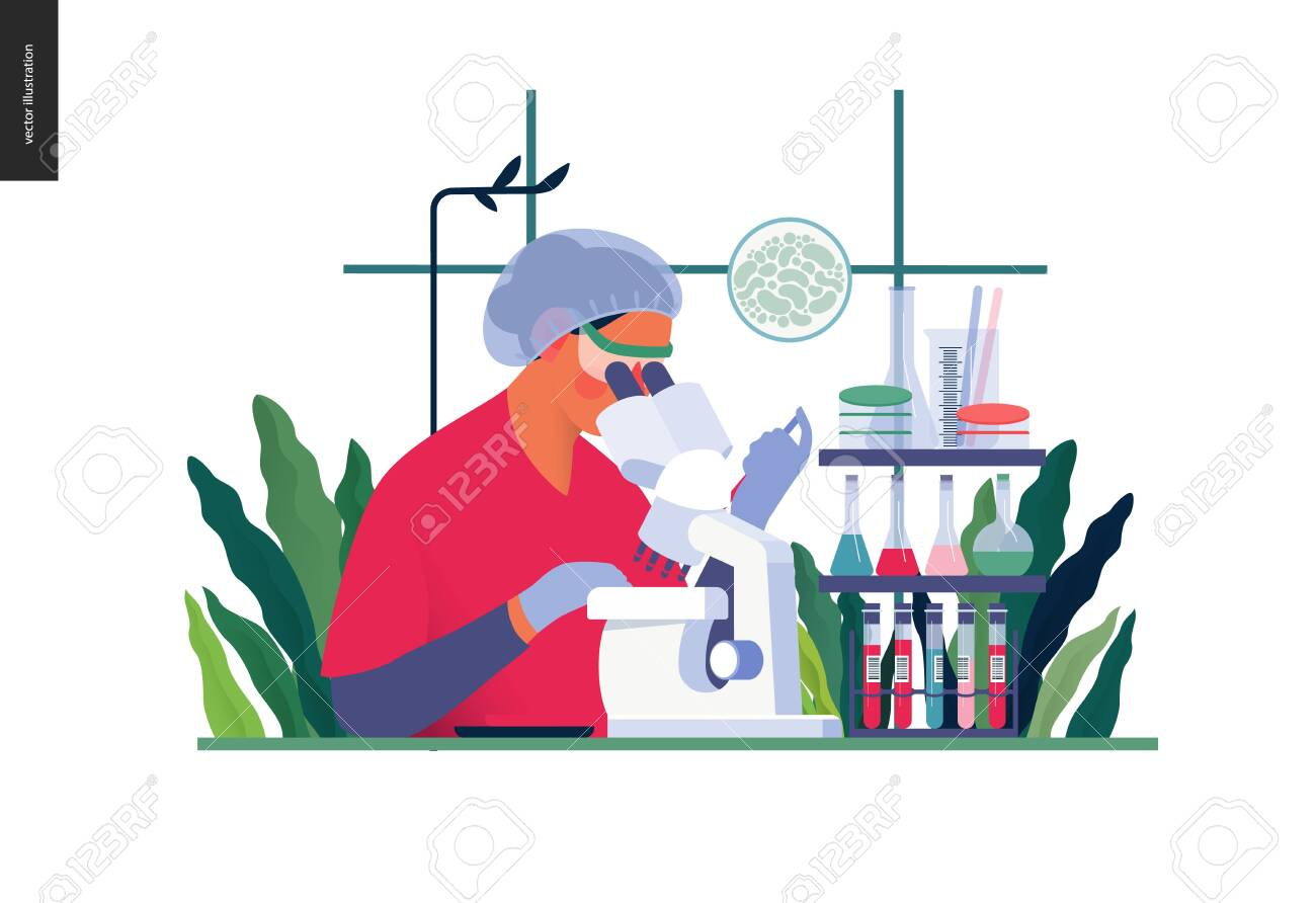 Medical tests template -chemical laboratory analysis - modern flat vector concept digital illustration of laboratory analysis -woman laboratory assistance with microscope, medical office or laboratory - 122607472