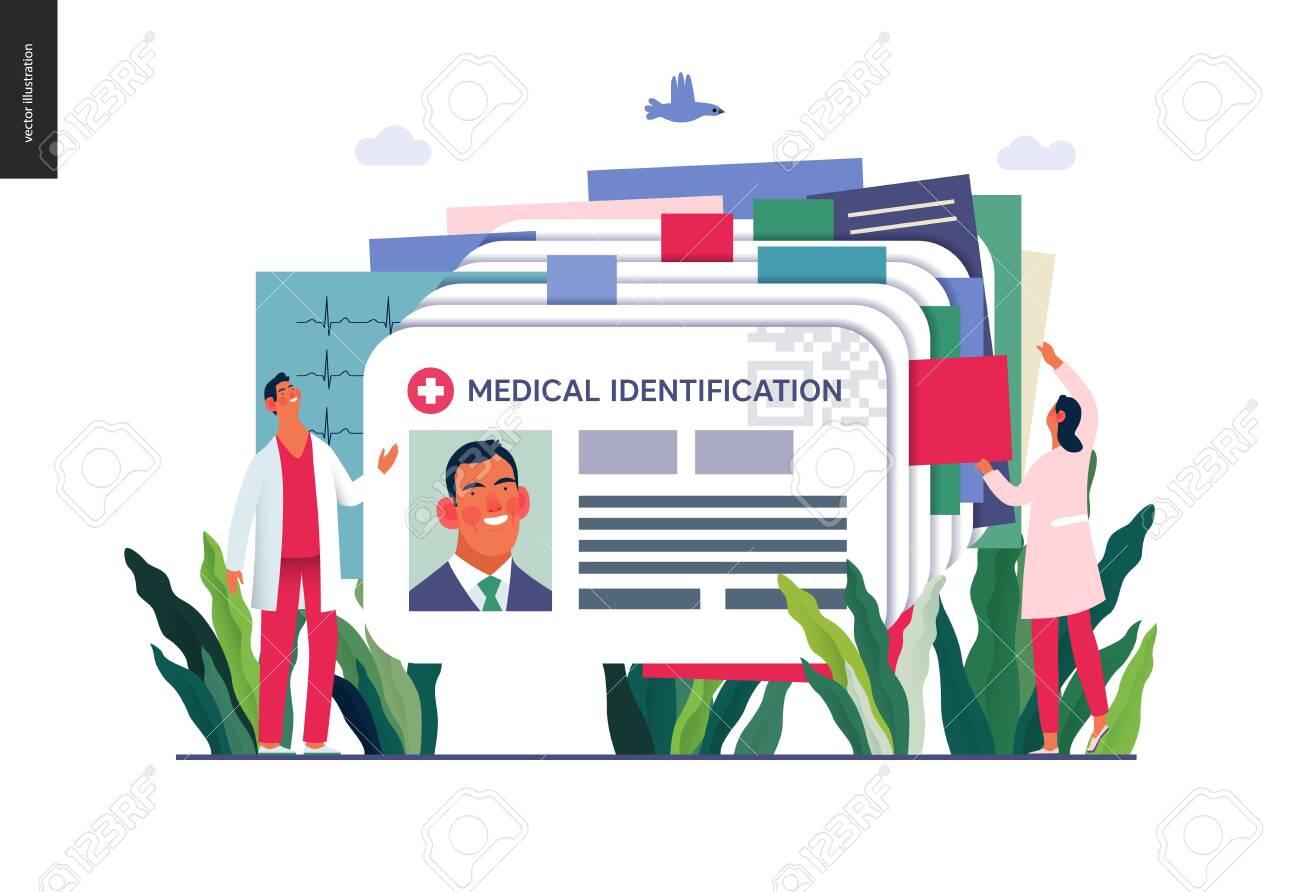 Medical insurance illustration- medical id card, health card -modern flat vector concept digital illustration - a plastic identification card as medical records file metaphor - 127653950