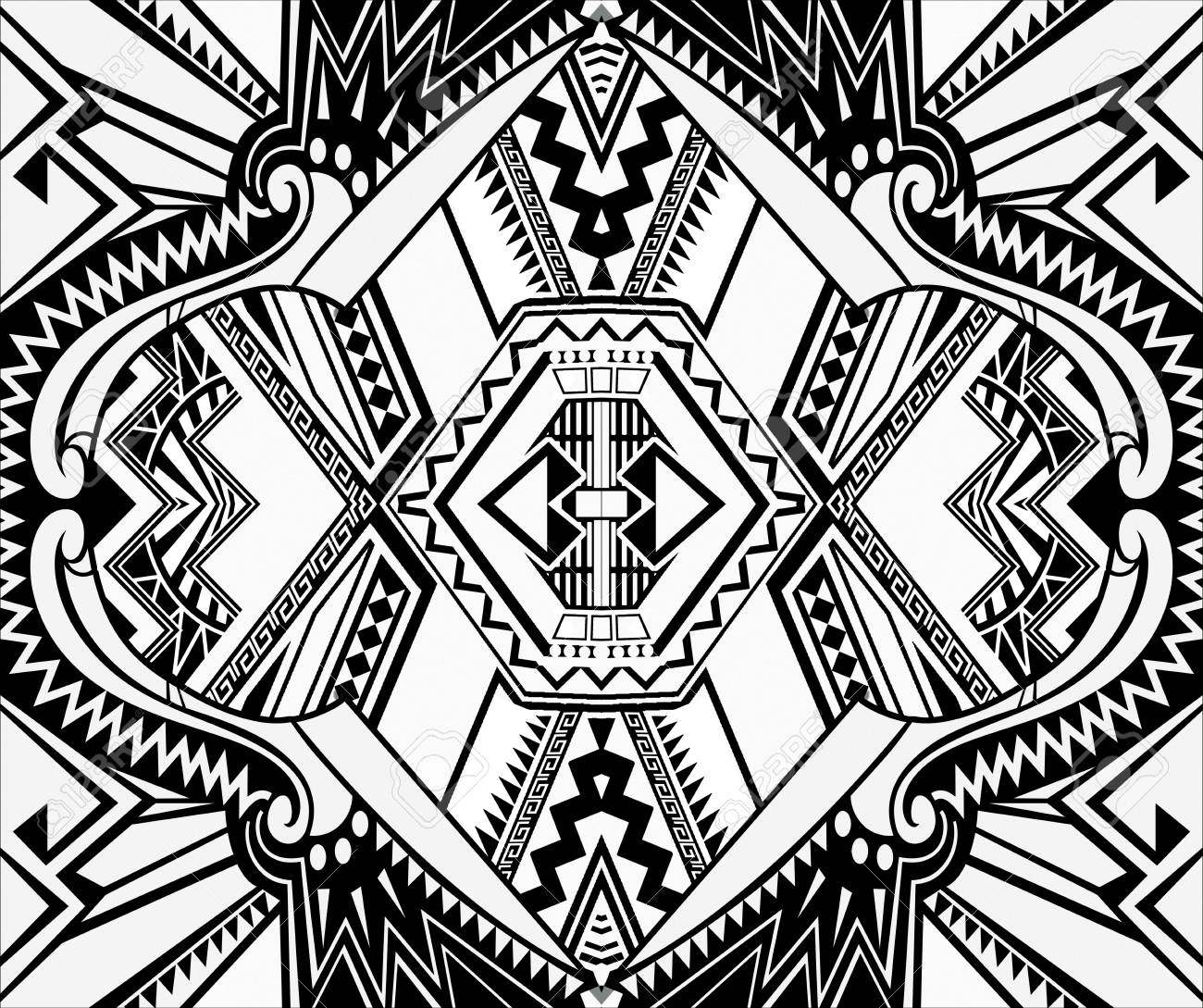 Black And White Paisley Pattern Vintage Background In Batik Stock